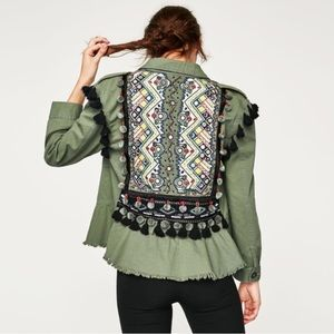Zara Embroidered Beaded Army Green Peplum Jacket